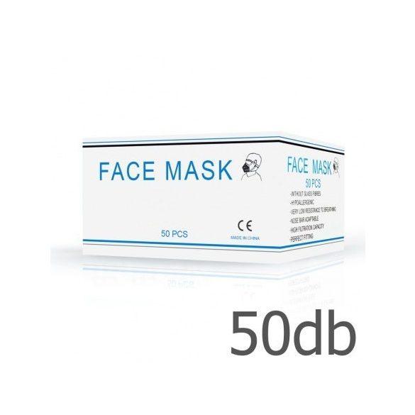 Eldobható higiéniai arcmaszk, 3 rétegű 50 db/csomag